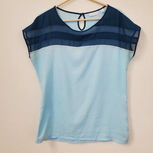 New York & Company Blue Striped Blouse Size Small